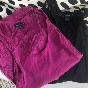 Lot of two American eagle lace back tanks